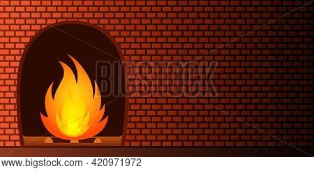 Fireplace And Brick Wall. Cartoon Style. Vector Illustration.
