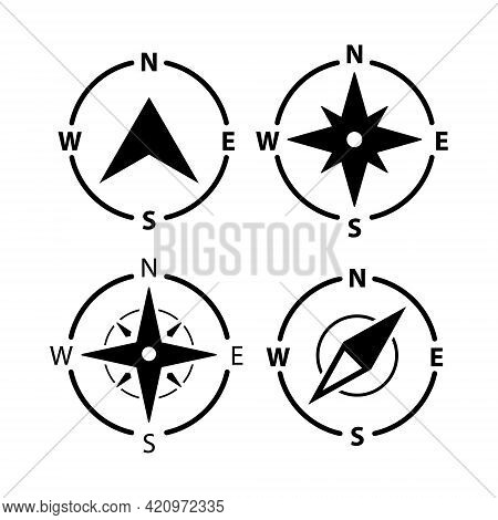 Compass Logo Icon. North Vector Arrow Orienteering Compass Map Gps Navigator
