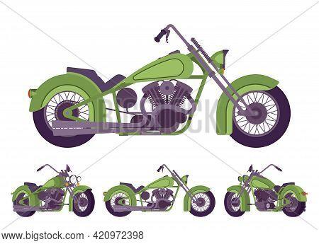 Chopper Custom Green Decor Classic Motorcycle, Bobber Bike. Fast Motorsport, High Speed Sport Vehicl