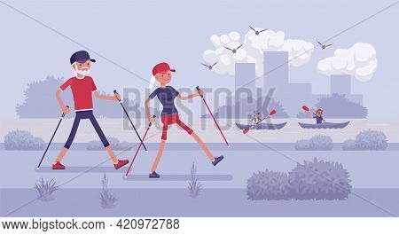Active Seniors, Happy Healthy Elderly People Nordic Walking With Poles. Couple Of Older Adults, Athl