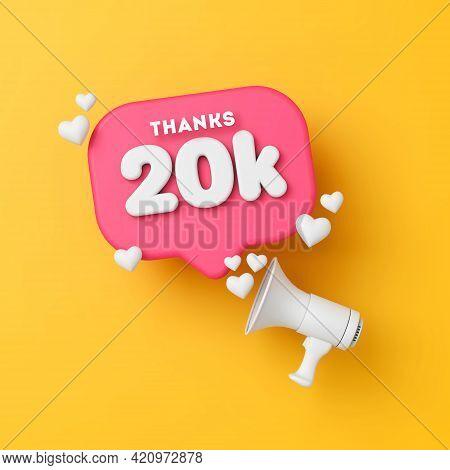 20 Thousand Followers Social Media Thanks Banner. 3d Rendering