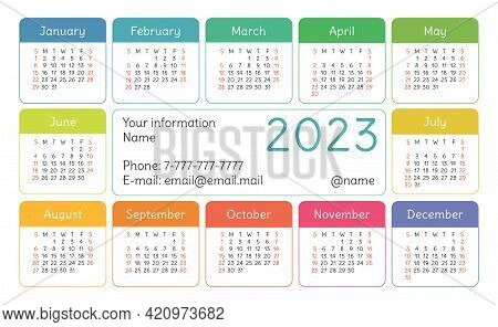 Calendar 2023 Year. English Colorful Vector Horizontal Wall Or Pocket Calender Design Template. New