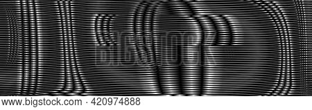 Black Abstract New Tech Texture With Linear Metallic Mesh Surface Effect. Abstract Background Saver,