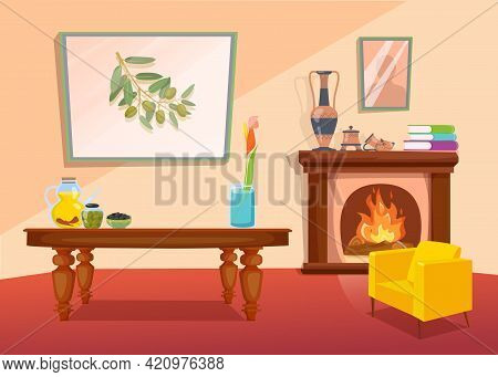 Cozy Living Room Interior With Fireplace. Cartoon Vector Illustration. Colorful Paintings On Wall, C