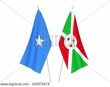 National Fabric Flags Of Somalia And Burundi Isolated On White Background. 3d Rendering Illustration