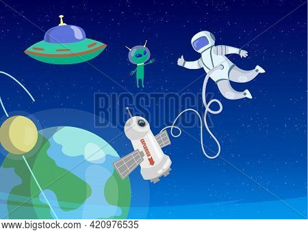 Astronaut Greeting Little Alien In Outer Space. Cartoon Vector Illustration. Ufo, Green Extraterrest