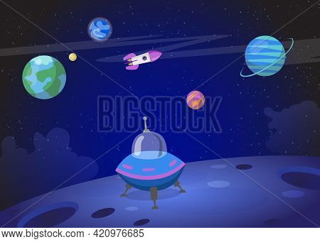 Spacecraft Landing On Planet Surface. Cartoon Vector Illustration. Colorful Planets, Flying Rocket,