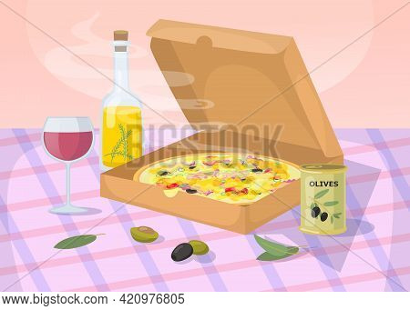 Hot And Deliciously Smelling Pizza On Table. Cartoon Vector Illustration. Pizza, Olives In Jar, Wine