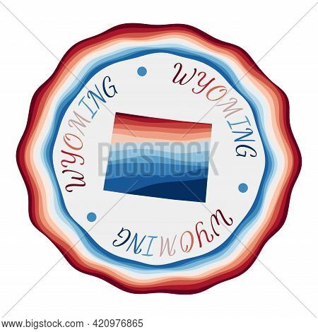 Wyoming Badge. Map Of The Us State With Beautiful Geometric Waves And Vibrant Red Blue Frame. Vivid