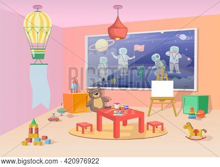 Playroom Interior With Colorful Toys And Furniture. Cartoon Vector Illustration. Cute Nursery With S