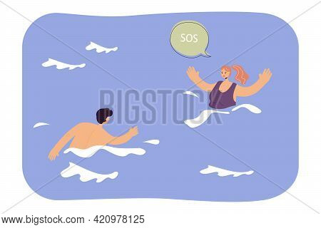 Lifeguard Swimming Towards Drowning Woman. Female Character Calling For Help In Sea Or Ocean Flat Ve