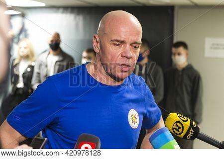 Minsk, Belarus - 1 May, 2021: World Famous Weightlifter Vyacheslav Horoneko During Interview In Mins