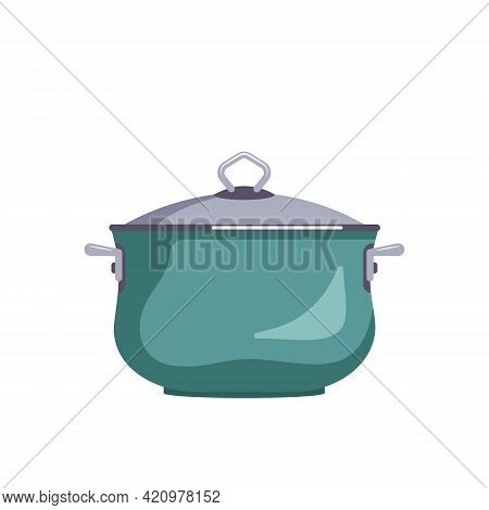 Icon Of A Green Saucepan With A Lid. Kitchen Utensils For Cooking Lunch, Soup. Vector Flat Illustrat