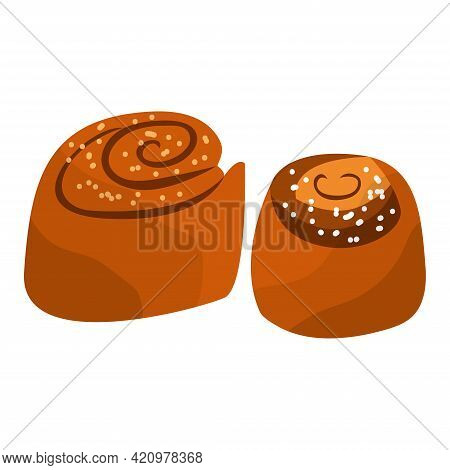 Two Little Cinnabons With Sugar. Baked Sweet Rolls. Fresh Swedish Kanelbulle Swirl Pastry