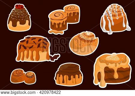 Set Of Cinnabon Buns Stickers. Set Of Swirl Buns. Cinnamon Rolls With Sugar, Topping, Syrup, Nuts. V