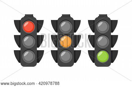 Traffic Lights With Red, Yellow,green Light Isolated On White Background. Traffic Signal In Flat Sty