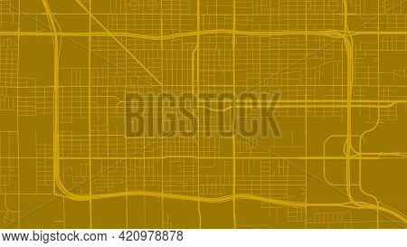 Golden Orange Phoenix City Area Vector Background Map, Streets And Water Cartography Illustration. W