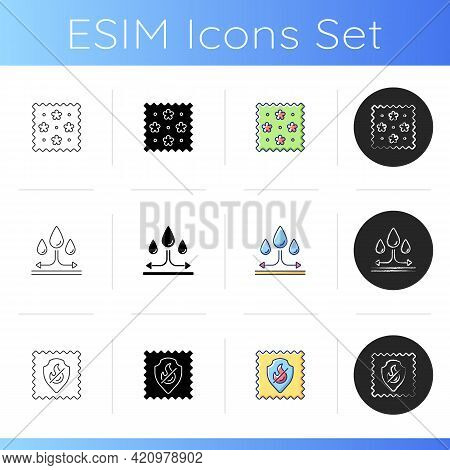Different Types Of Fabric Feature Icons Set. Fireproof Protection And Water Repellent Fiber. Textile