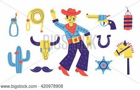 Cowboy Party Set. Cartoon Cute Collection With Cowboy, Lasso, Horse, Cactus, Milk, Revolver. Wild We