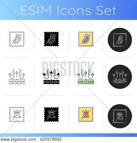 Textile Qualities Icons Set. Fabric Feature. Dust Mite Resistant Textile. Antimicrobial And Membrane