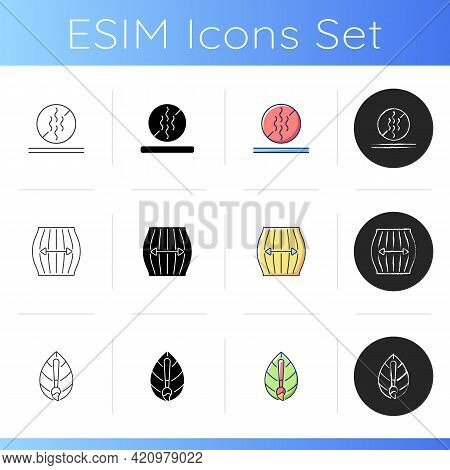 Different Fabric Features Icons Set. Stretching Fiber. Odor Resistant Textile. Textile Industry. Sta