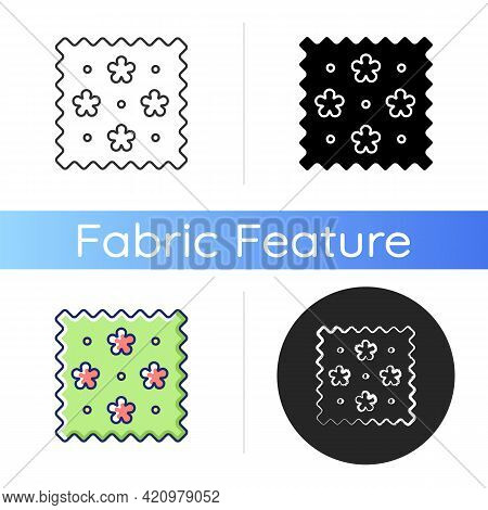 Abstract Print Pattern On Fabric Icon. Drawing Textile Qualities. Cute Tracery Material Property. Sp
