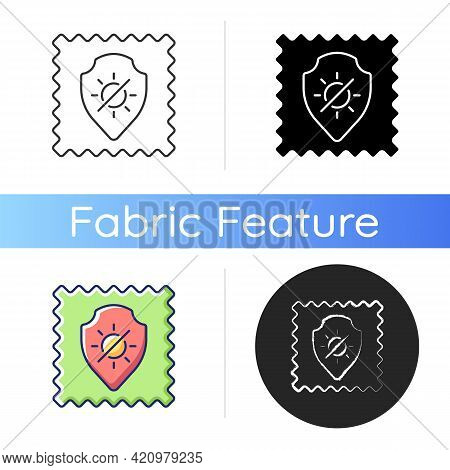 Uv Protection Fabric Feature Icon. Special Tissue Property. Sunlight Resistant Fiber. Ultraviolet Re