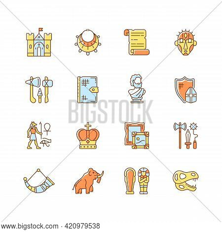 Heritage And Museum Rgb Color Icons Set. Medieval Times. Excavated Treasure. Middle Ages. Historic B