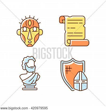 Exploring Ancient Lives Rgb Color Icons Set. Ritual Masks. Manuscripts. Sculpted Philosopher Bust. K