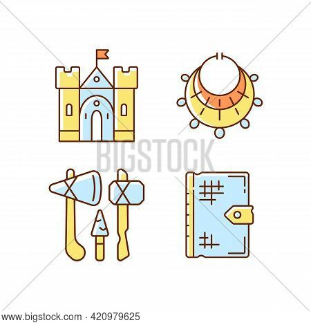 Antiquities Excavation Rgb Color Icons Set. Medieval Castle. Excavated Treasure. Stone Age Weapons.