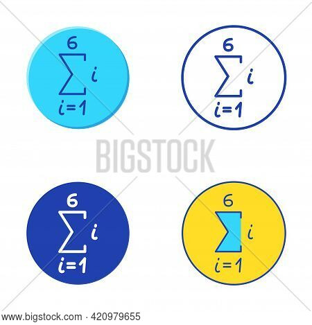 Math Sequence Icon Set In Flat And Line Style