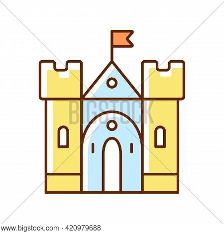 Medieval Castle Rgb Color Icon. Historic Building. Fortress, Palace. Housing, Fortification. Middle