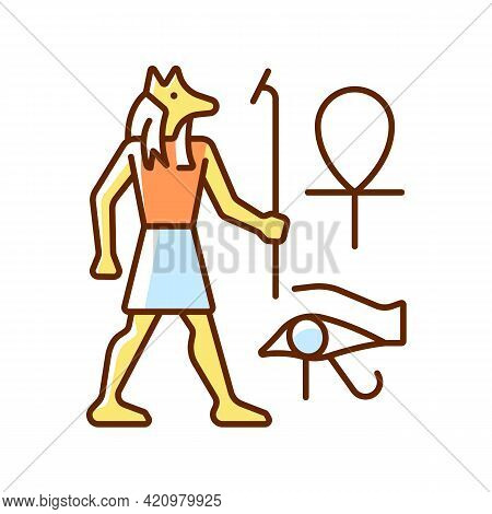 Egyptian Wall Drawings Rgb Color Icon. Mural Painting. Walls Decoration With Reliefs. Depicting Anci