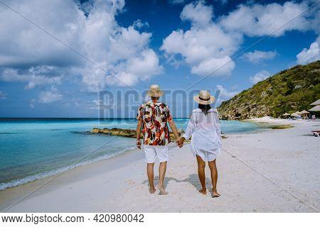 Cas Abou Beach Curacao On The Caribbean Island Of Curacao, Playa Cas Abou In Curacao Caribbean Tropi