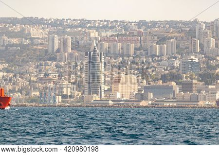 Haifa, Israel, May 08, 2021 : View Of The Embankment And The Downtown From The Water Area Of The Hai