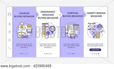 Customer Behavior Types Onboarding Vector Template. Responsive Mobile Website With Icons. Web Page W