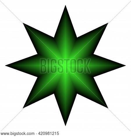 Abstract Octagonal Star Shape Design Element. 3d Illusion. Vector Art.