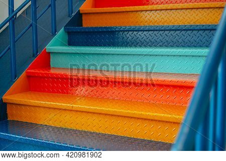 Stairs Painted In Bright Colors, Stairs Background