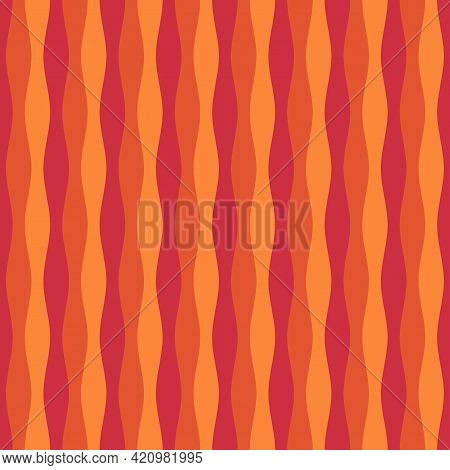Wavy Lines Ornament. Seamless Pattern. Jagged Stripes Motif. Waves Ornate. Curves Image. Linear Back
