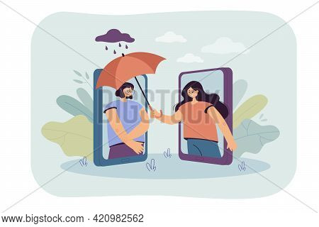 Woman Covering Sad Friend With Umbrella Over Phone. Female Character Comforting Girl Flat Vector Ill
