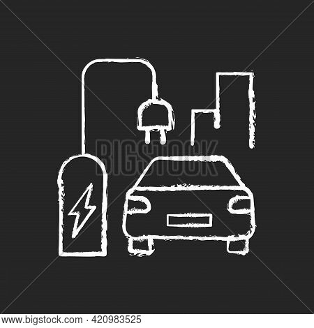 On Street Residential Ev Charging Chalk White Icon On Black Background. Charging Stations For Electr