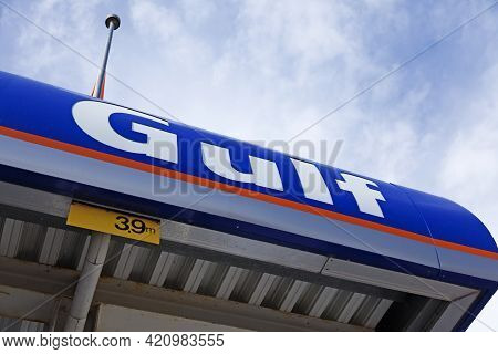 Umea, Norrland Sweden - May 2, 2021: A Gulf Sign Hanging At A Gas Station