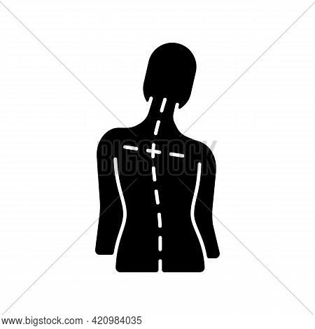 Uneven Shoulders Black Glyph Icon. Postural Change. Difficulty Walking. Back Pain. Skeletal Imbalanc