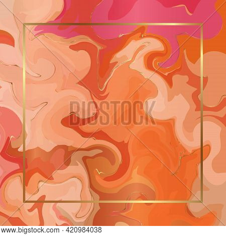 Bright Orange Watercolor Abstraction With Gold Textures And Golden Square Thin Frame. Vector Marble