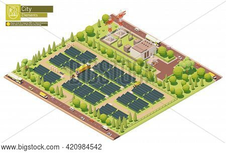 Vector Isometric Photovoltaic Solar Energy Power Plant