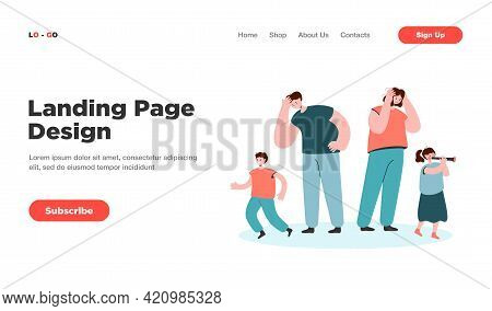 Tired Parents Looking At Happy Children Isolated Flat Vector Illustration. Cartoon Mother And Father