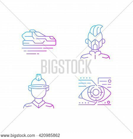 Sci Fi And Cyberpunk Gradient Linear Vector Icons Set. Flying Car. Cyberpunk Movie, Game. Futuristic