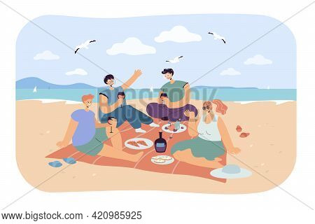 Group Of Happy Friends Having Picnic On Beach. Cartoon Persons Eating And Drinking On Seashore Trend