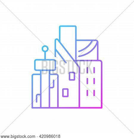Cyberpunk City Gradient Linear Vector Icon. Skyscrapers Of Business Centers. Metropolis Buildings. F