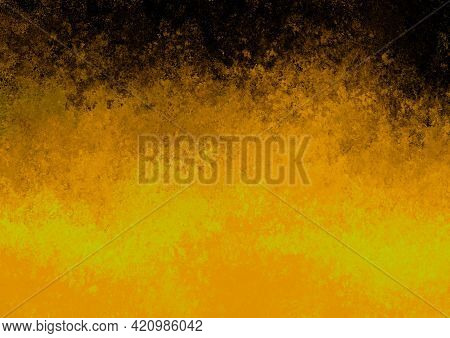 Yellow Black Orange Antique Old Background With Blur, Gradient And Watercolor Texture. Space For Art